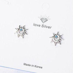 Jewelry - NEW 925 Sterling Silver Diamond Sun Stud Earrings